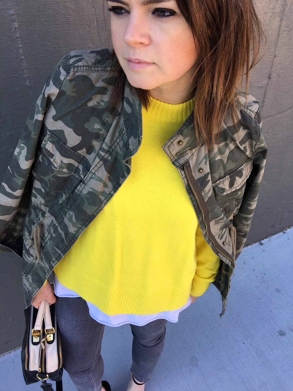 How to wear a yellow sweater with a camo jacket!