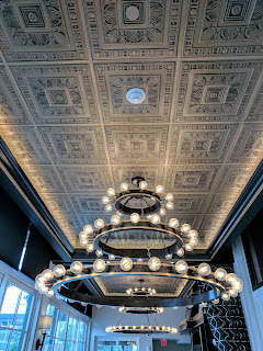 Chandelier in the Art Deco dining room at the Curtiss Hotel in Downtown Buffalo New York
