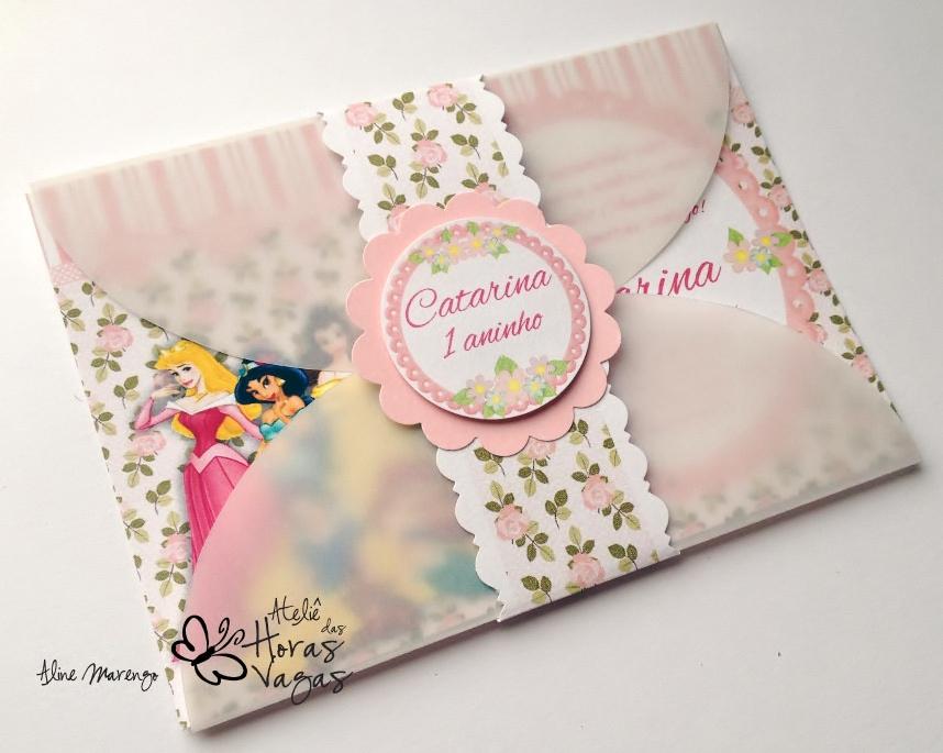 convite artesanal aniversário infantil menina floral provençal delicado princesas disney cinderela branca de neve aurora ariel bela rosa