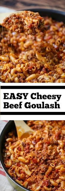 EASY Cheesy Beef Goulash #Cheesy #beef #easydinner #maindish #goulash #dinner #whole30 #groundbeef