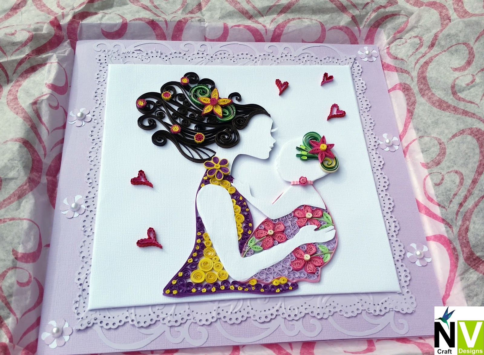 Nv Craft Designs Quilled Mother And Baby Card Baby Shower Card