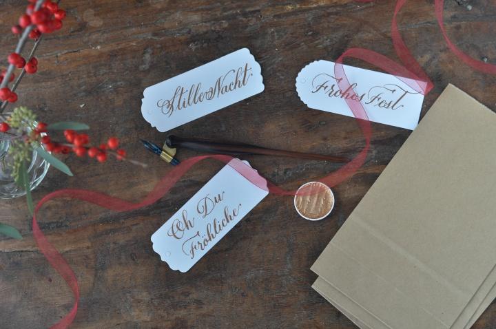 DIY Calligraphy Gift Tags with Christmas Songs