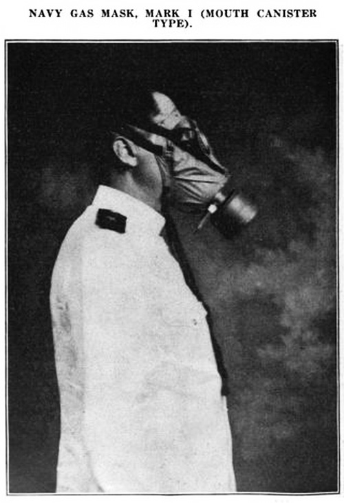 Navy Gas Mask, Mark 1 (Mouth Canister Type.)
