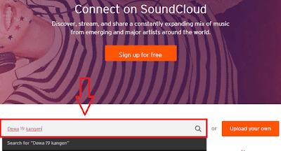 Contoh gambar ilustrasi tampilan halaman SoundCloud