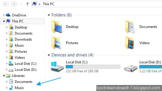 cara menampilkan libraries dan menghilangkan favorites di file explorer windows 8.1