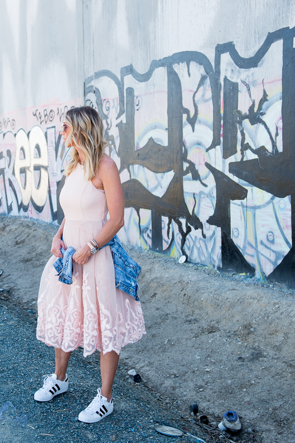 parlor girl dress and sneakers style