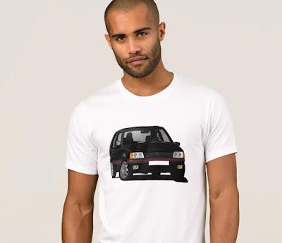 Musta Peugeot 205 GTi t-paita