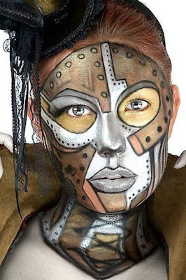 steampunk robot makeup - steampunk face painting