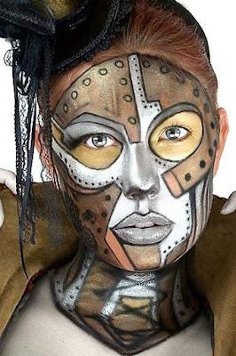 steampunk robot makeup - steampunk face painting