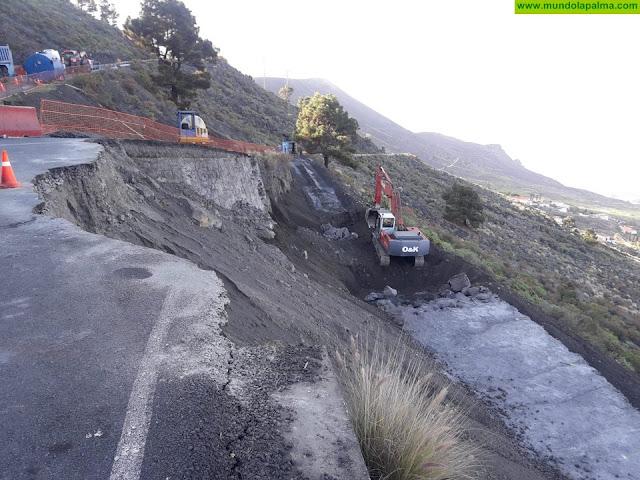 El Cabildo avanza en las obras para mejorar el acceso a la carretera de Los Quemados en Fuencaliente