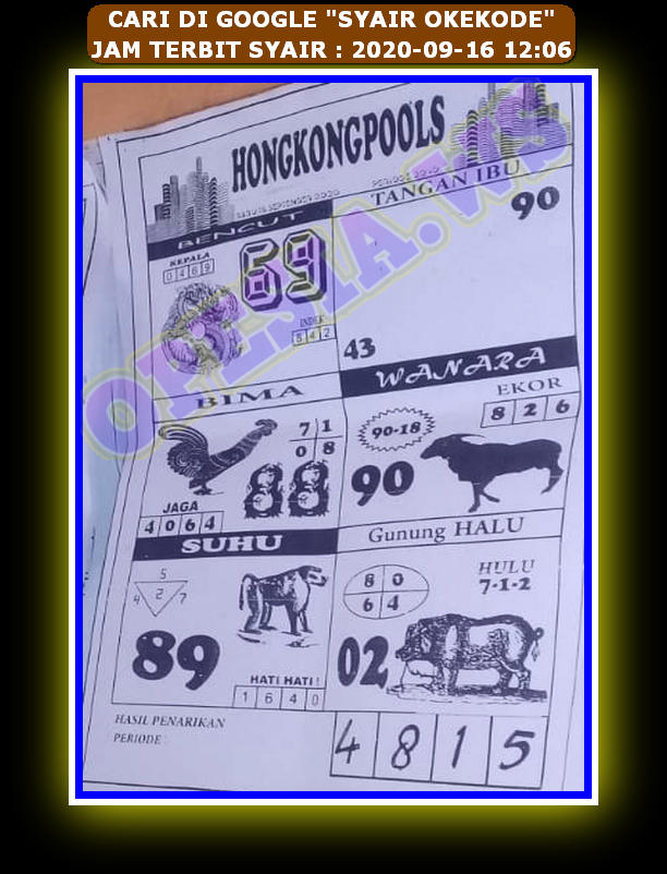 Kode syair Hongkong Rabu 16 September 2020 77