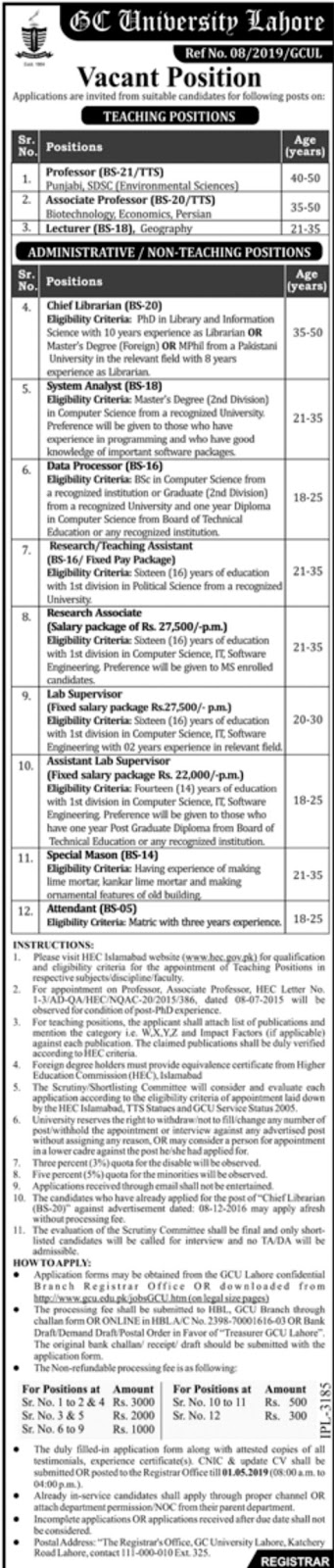 GC University Lahore Jobs 2019 For Teaching Faculty