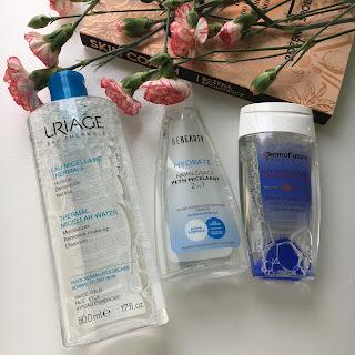 3 produkty, płyn micelarny z BeBeauty, Dermo Future oraz Uriage.
