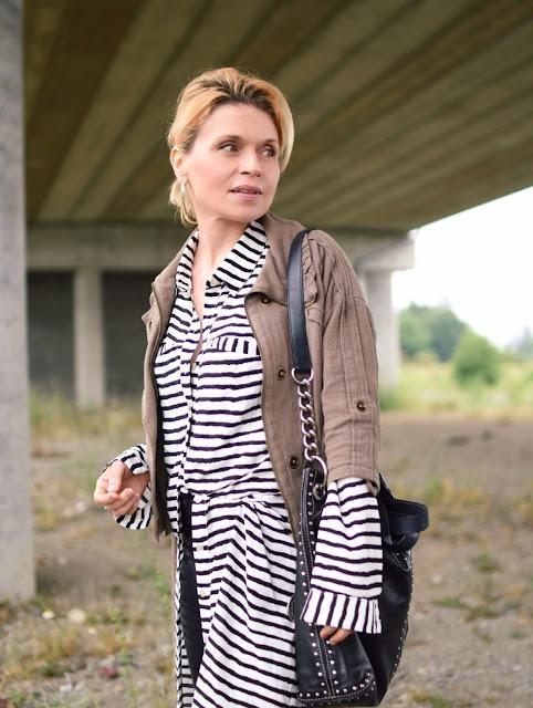 striped shirtdress, bomber jacket, vegan leather leggings, Michael Kors bag
