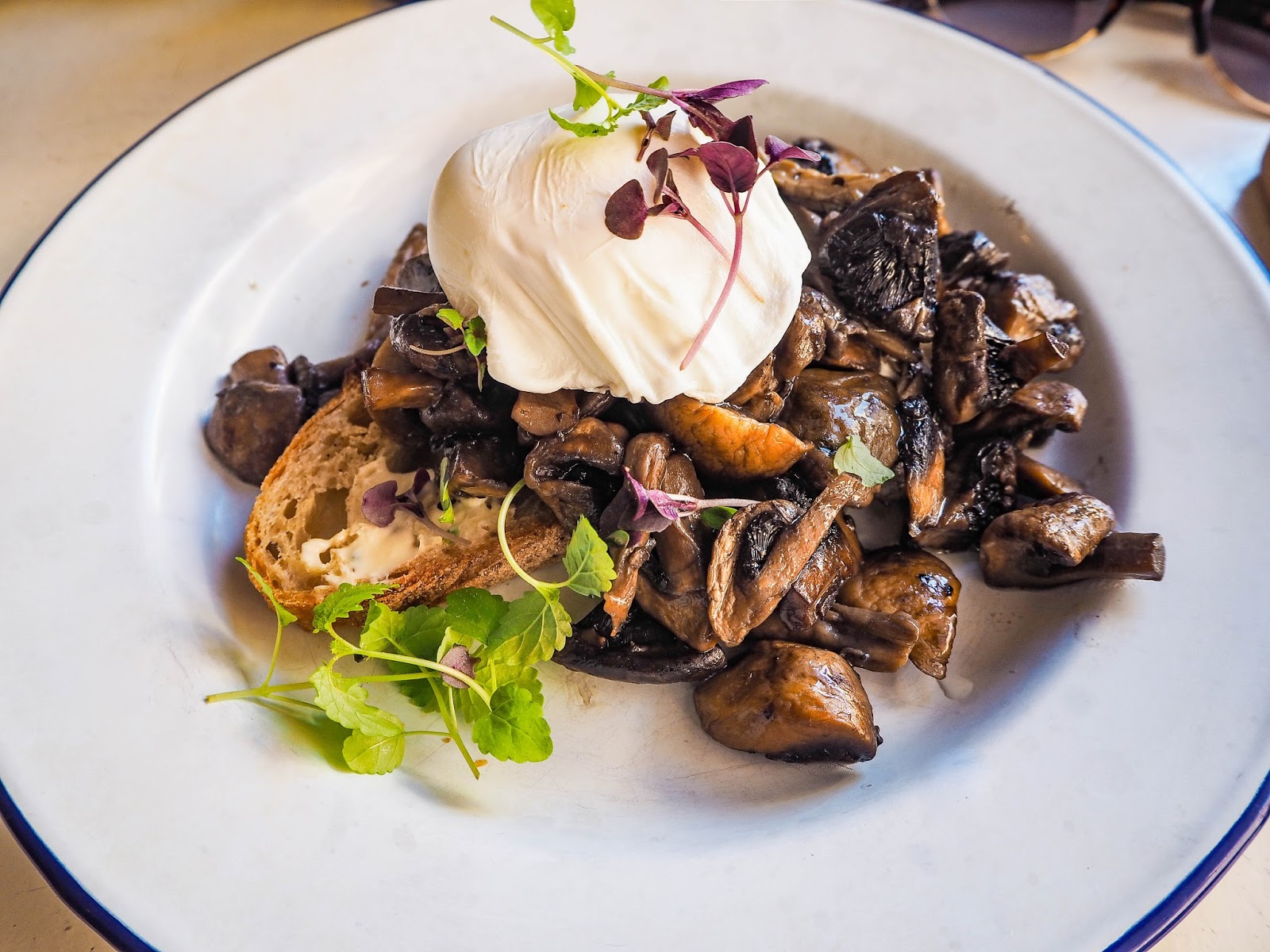 Mushrooms and poached egg on toast