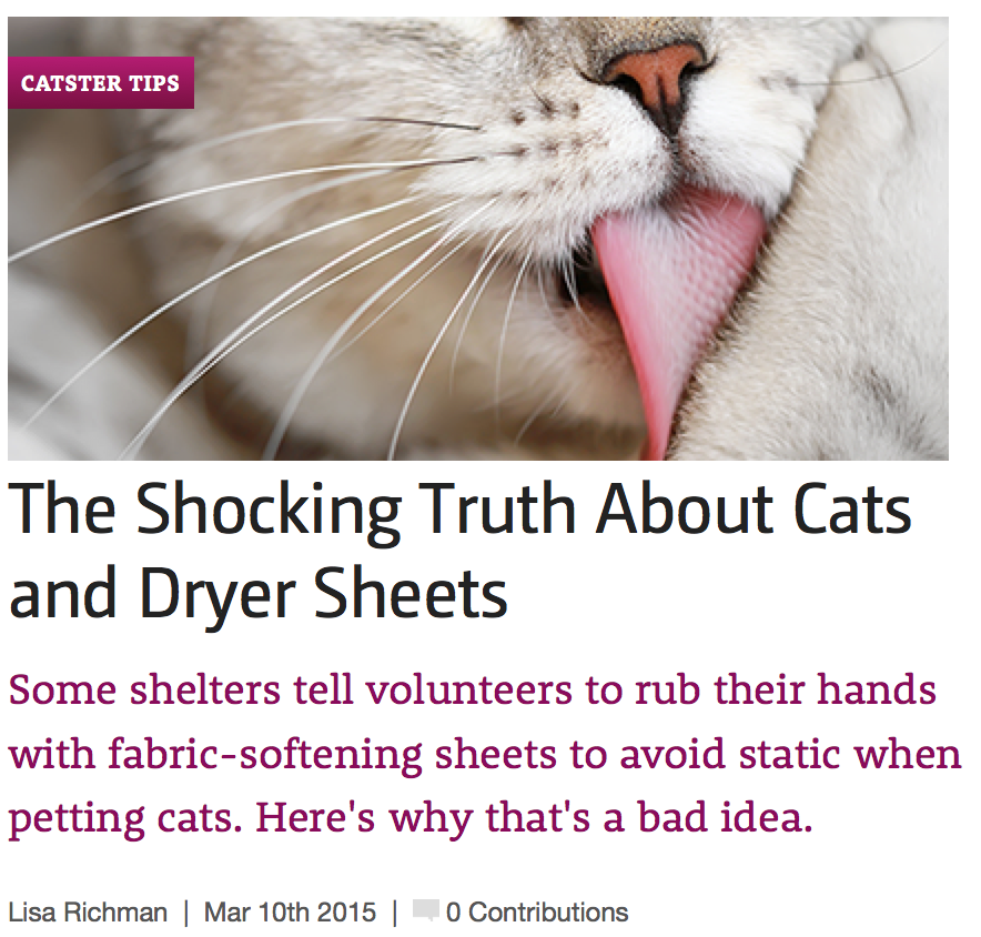 http://www.catster.com/cat-health-care/cat-health-tips-shelters-shocking-truth-fabric-softener-dryer-sheets-static-electricity