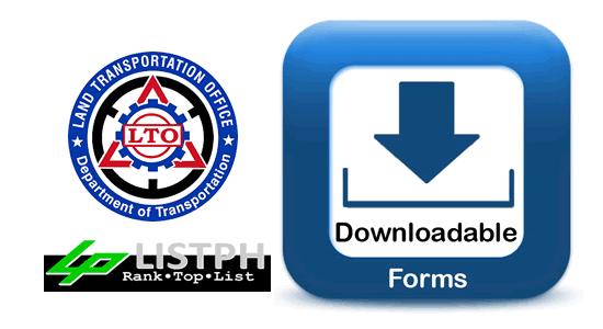 List of Downloadable Forms LTO (Land Transportation Office)