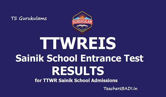 TTWREIS Sainik School Entrance Test Results 2019 (TTWR Sainik School Admissions)