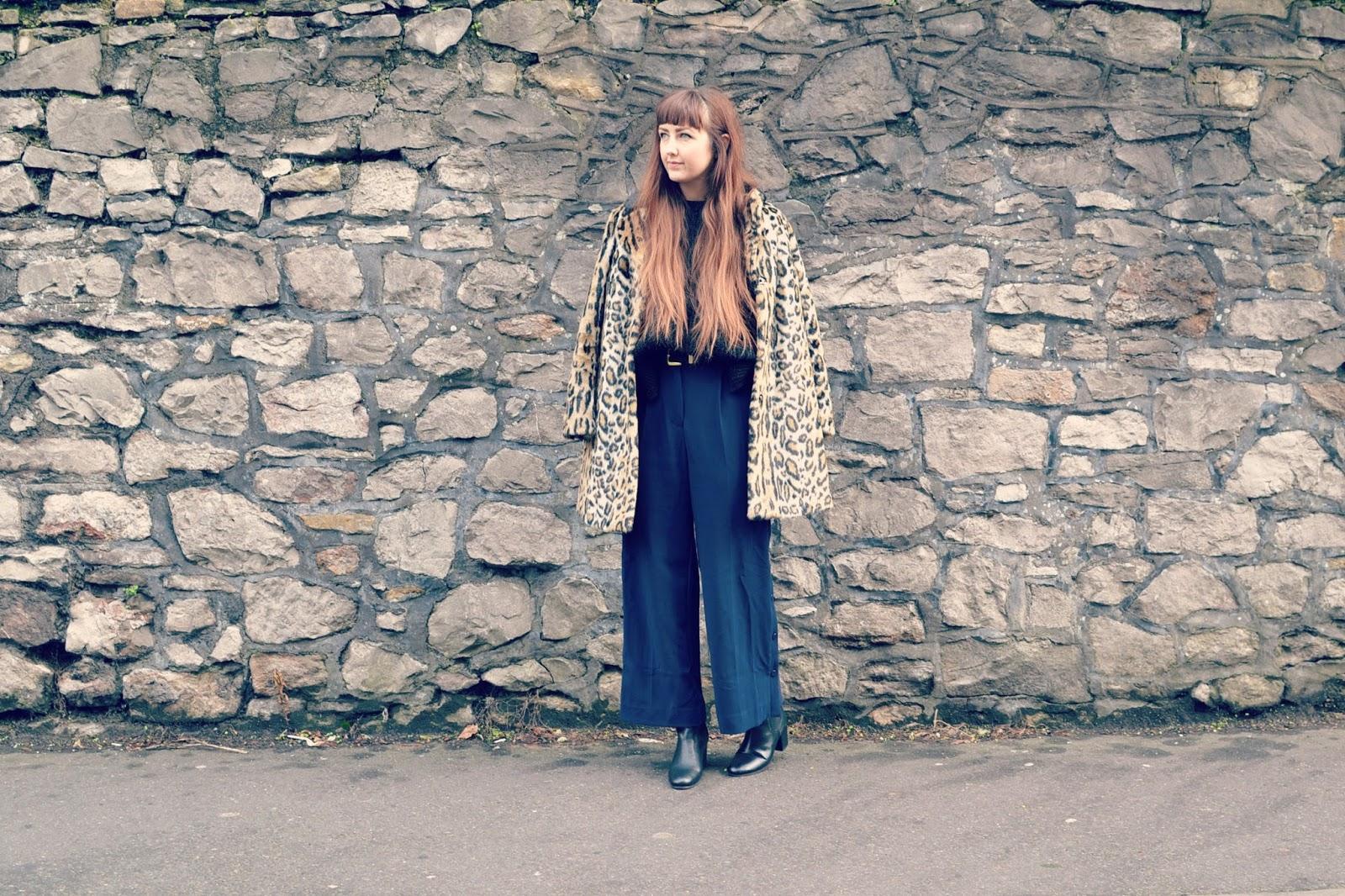 Topshop coat Finery Ruby jumper ASOS culottes Topshop chelsea boots