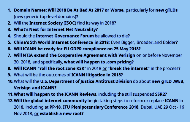 "graphic: ""12 Questions for 2018: Domains, ISOC, Internet, ICANN"" ©2017 DomainMondo.com"