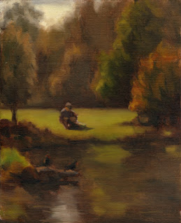 Oil painting of a seated man surrounded by green grass and trees with a pond and swamp hens in the foreground.