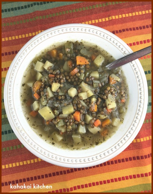 Kahakai kitchen cure all lentil soup from sweet potato soul by its a great book and there were a lot of recipes that looked tempting including the coconut corn chowder that debra tried but since i am trying to kick a forumfinder Choice Image