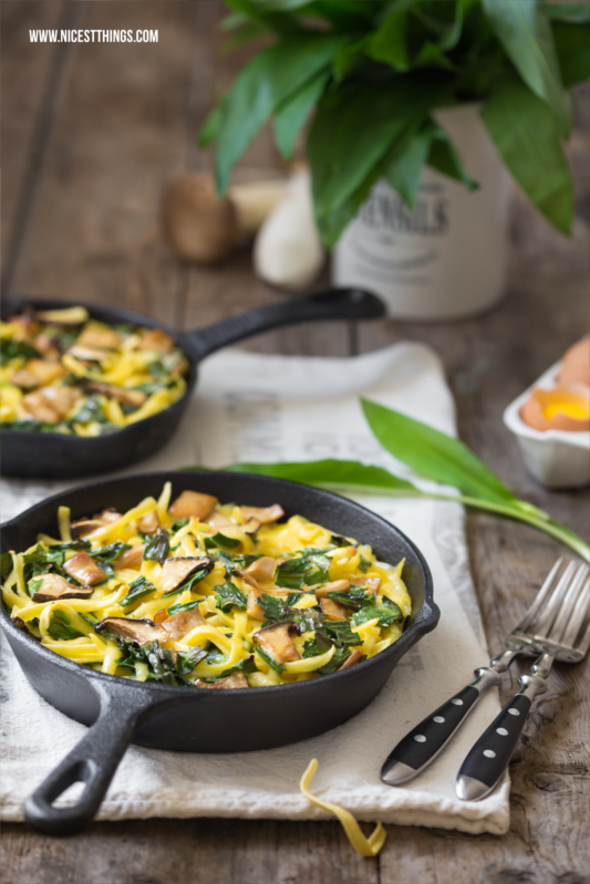 Spätzle Frittata with Wild Garlic and Mushrooms