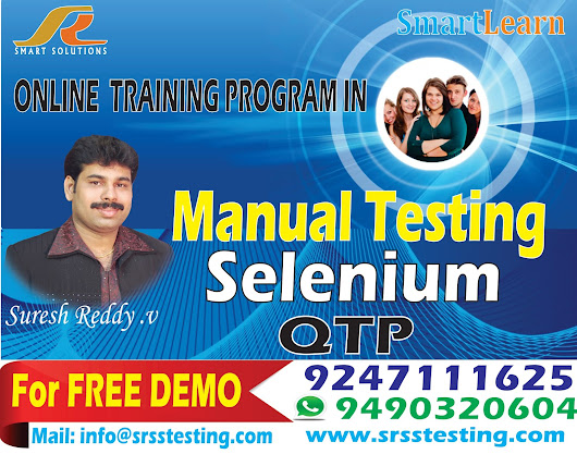 Software Testing Tools Training in Online by Mr.Suresh Reddy Sir ( Manual & Selenium & QTP/UFT)
