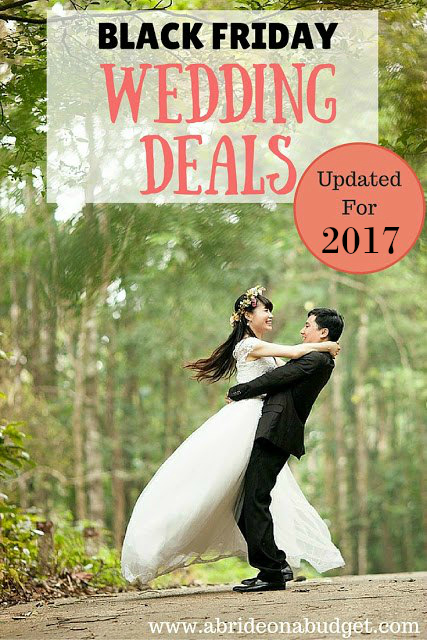 Planning your wedding? Get Black Friday wedding deals, freebies, and more at this post from www.abrideonabudget.com. Updated for Black Friday and Cyber Monday 2017!