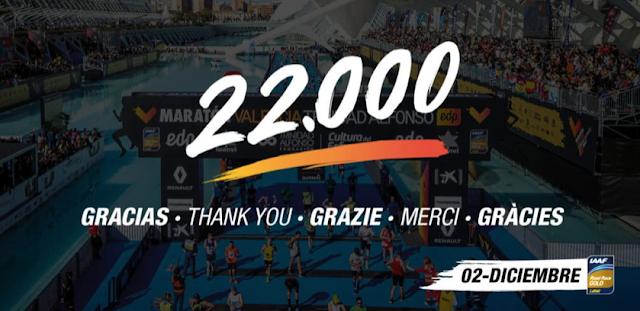 La Maratón de Valencia llega a los 22.000 inscritos