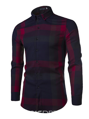 Color Block Plaid Sanding Casual Men's Shirt