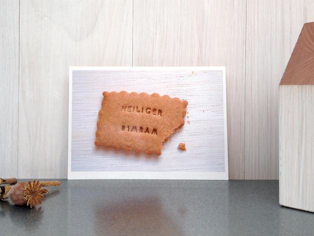 Weihnachtskarte Heiliger Bimbam – Postkarte mit Keks aus meinem DaWanda Shop hasenfuss