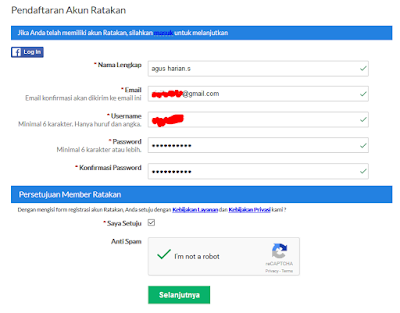 cara mendaftar di situs afiliasi ratakan.com