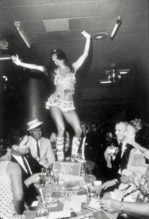 1968 Go-go girl and delegates. Republican National Convention, Miami Beach