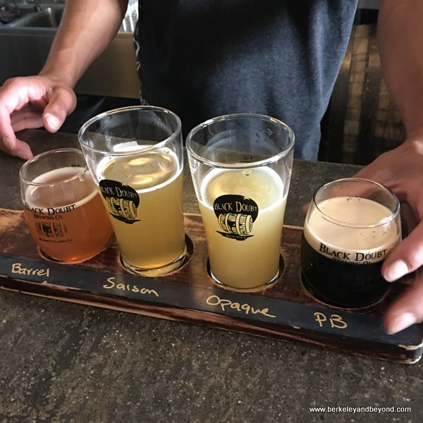 tasting flight at Black Doubt Brewing Co. in Mammoth Lakes, California