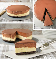 Tarta de queso y mousse de chocolate