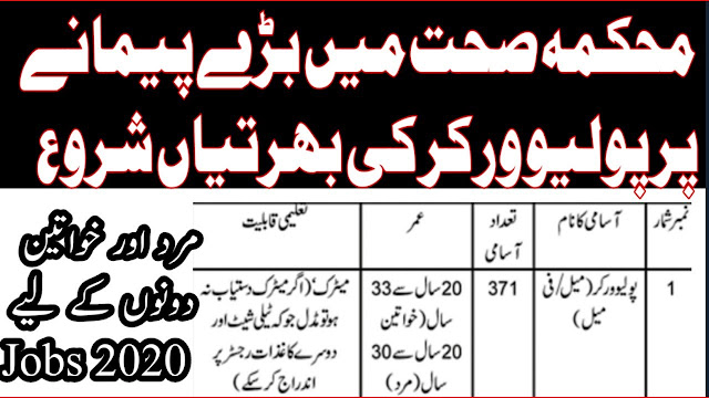 371+Polio Workers July Jobs 2020 for (Male / Female)