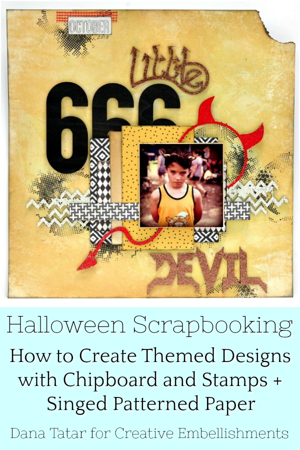 Little Devil Halloween Scrapbook Layout with Embossed Chipboard Stamped Background and Singed Paper