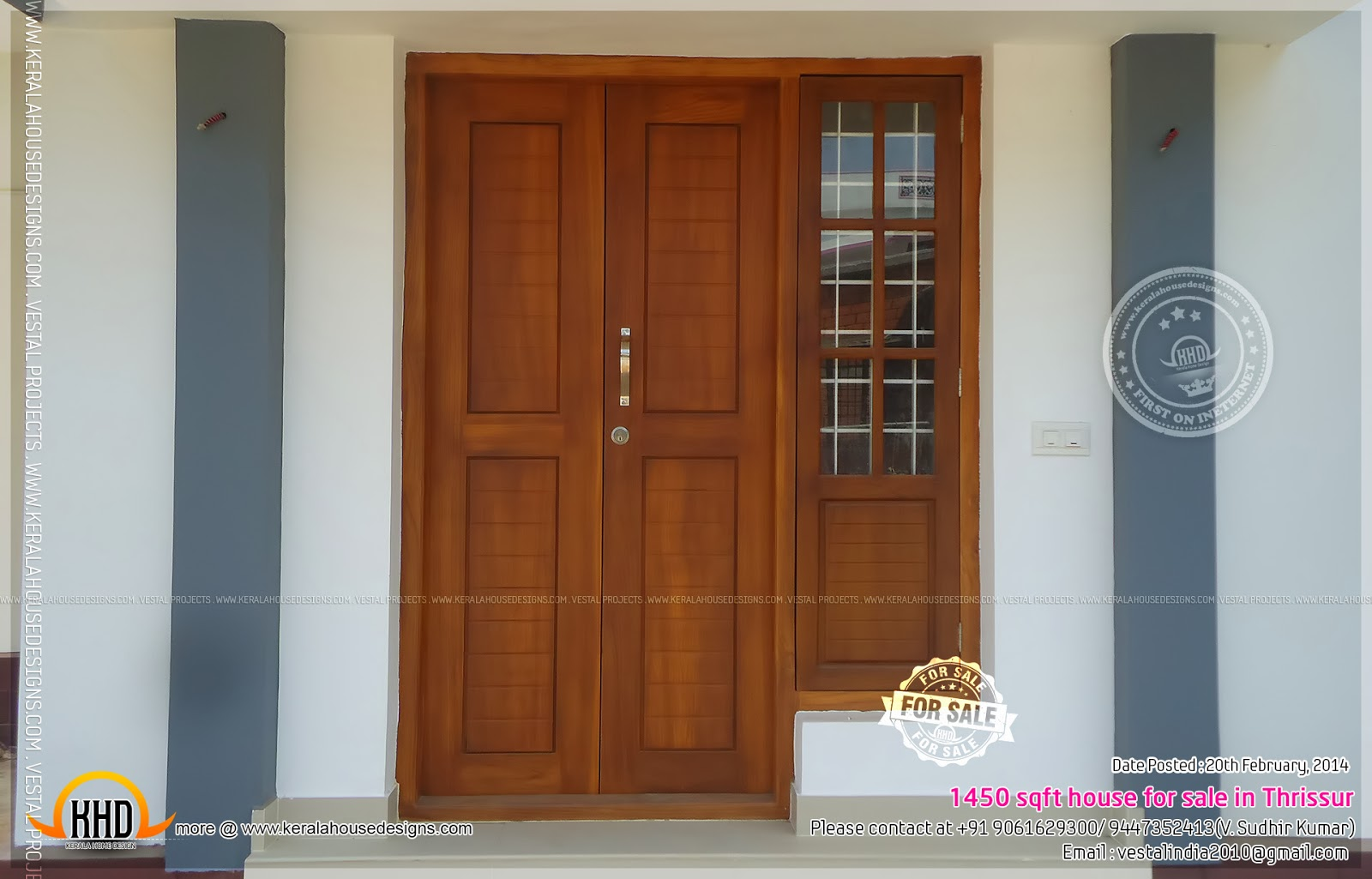 1450 sqft house for sale in thrissur kerala home design - Single main door designs for home in india ...