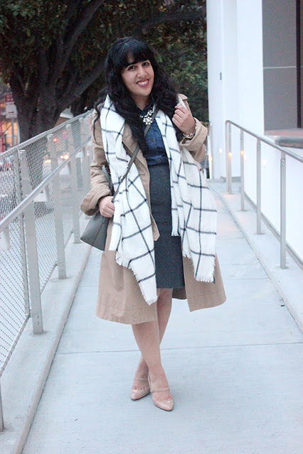 Classic Trench Express Blanket Scarf Office Winter Outfit