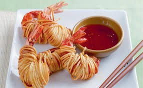 Prawns Wrapped in Noodles Recipe with Chili and Coriander