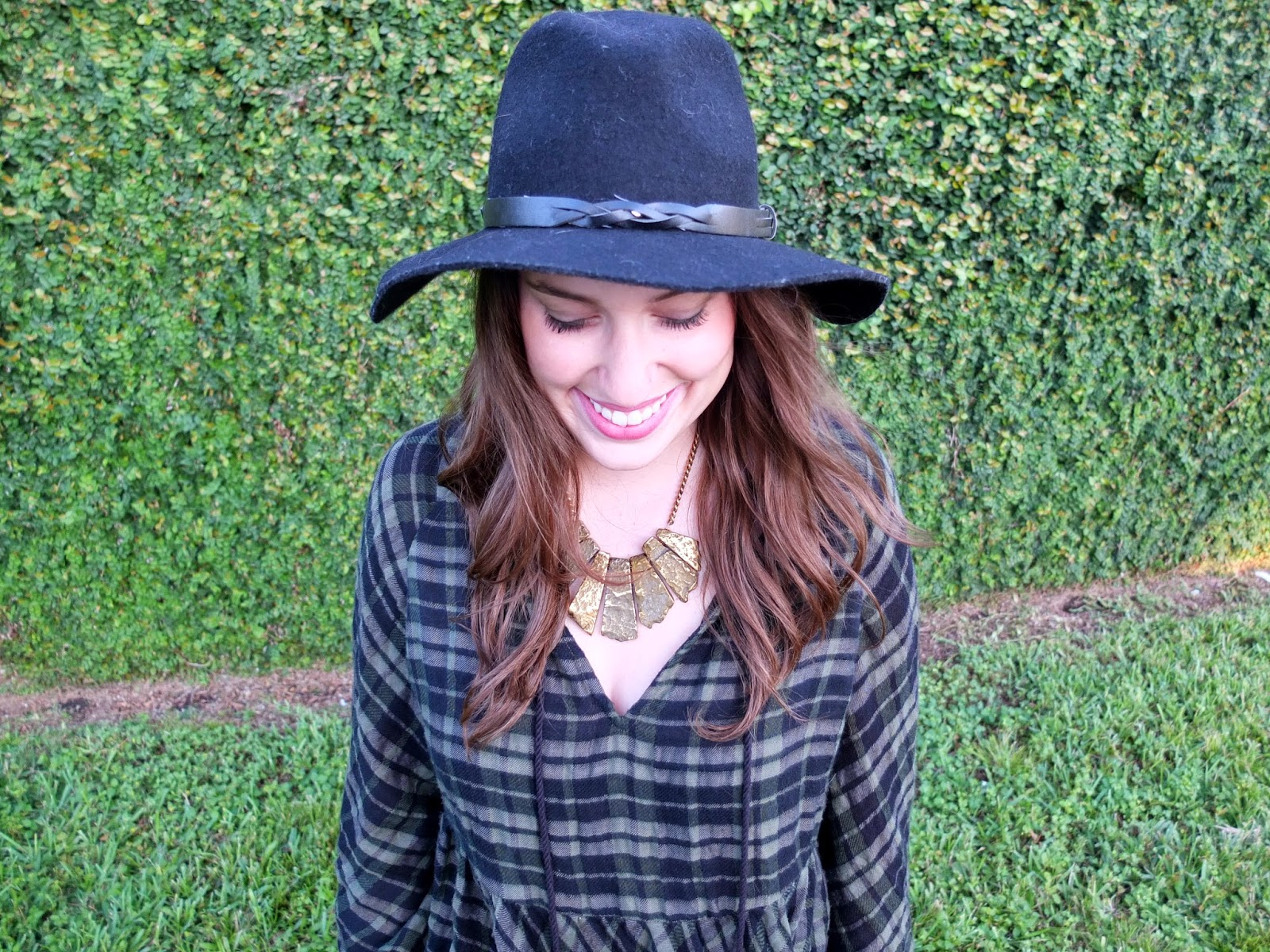 Anthropologie Plaid Peasant Top, Anthropologie Green Top, Anthropologie Green Plaid Top, Trendy in Texas, Fall Fashion, Lone Star Looking Glass, Fall Style, Black Floppy Felt Hat, Black Floppy Hat