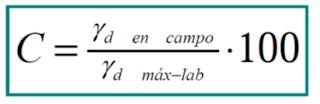 fórmula del grado de compactación