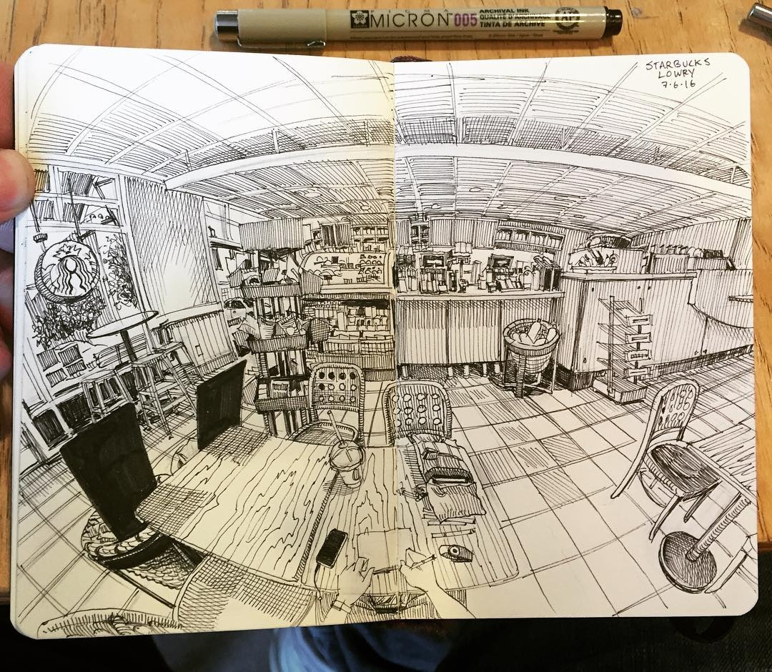 17-Starbucks-Denver-Paul-Heaston-Urban-Sketcher-Inserts-Himself-in-the-Drawing-www-designstack-co