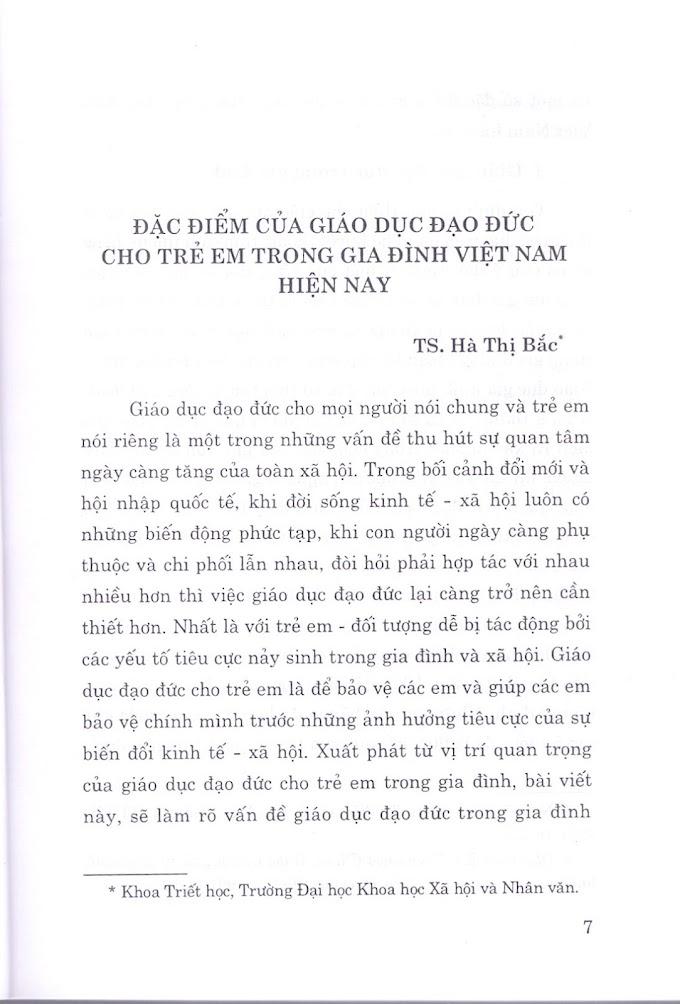 Hà Thị Bắc - Đặc điểm của giáo dục đạo đức cho trẻ em trong gia đình Việt Nam hiện nay