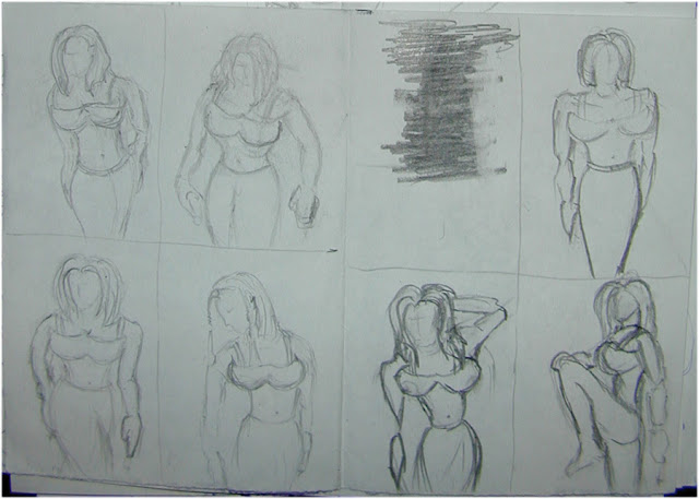 Female Poses hand sketch drawings 2.
