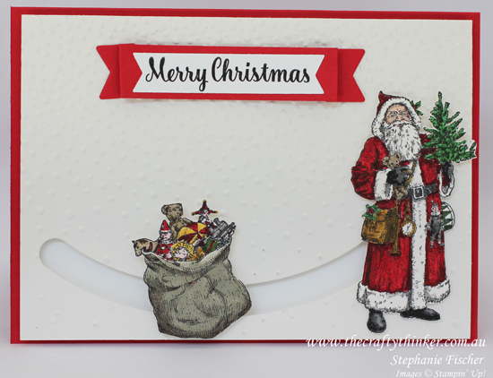 Stampin Up, #thecraftythinker, Christmas card, Spinner Card, Slider Card, Father Christmas, Xmas card, Stampin Up Australia Demonstrator