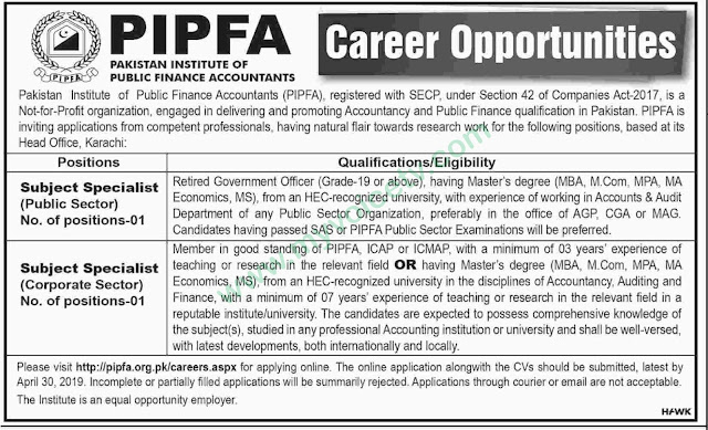 ➨ #Jobs - #Career_Opportunities - #Jobs at PIPAF –for application visit the link
