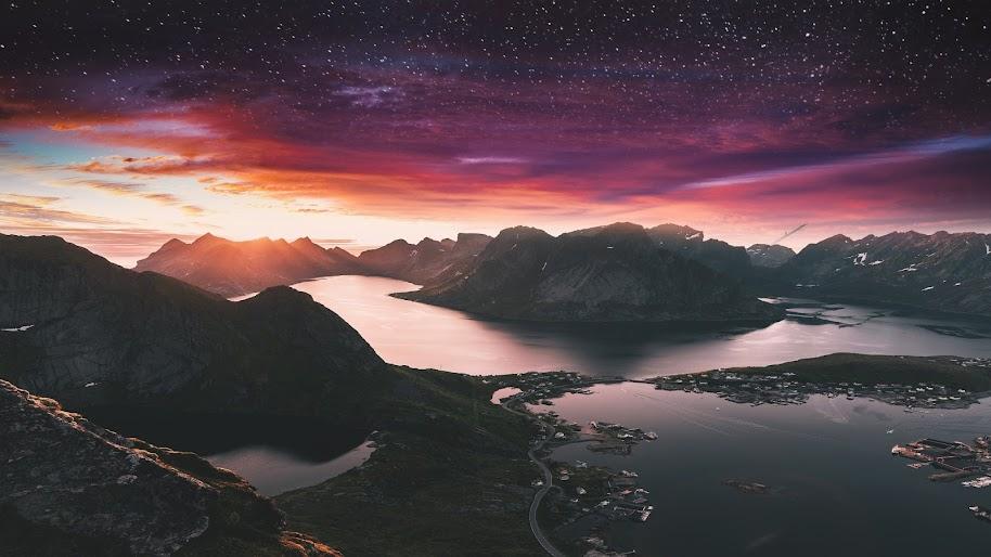 Mountain, Night, Sky, Landscape, Scenery, 4K, #187
