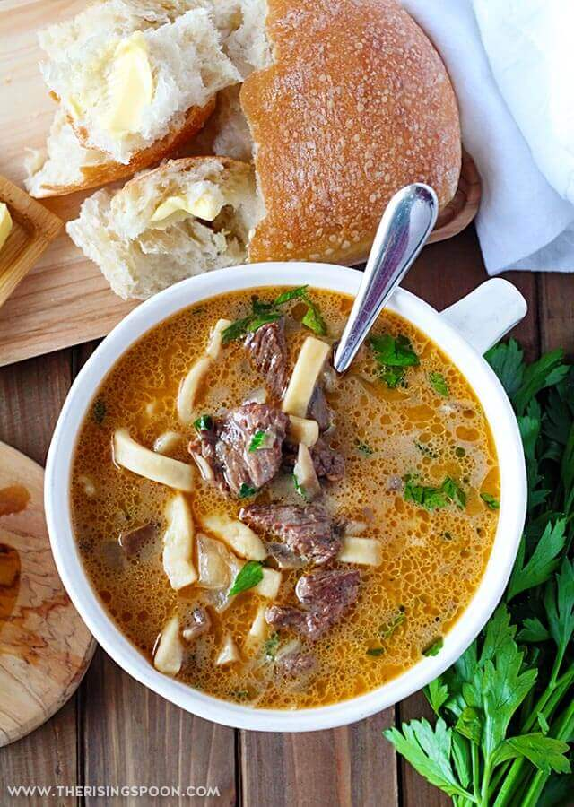 Winter Comfort Food Recipe: Easy Beef Stroganoff Soup from The Rising Spoon